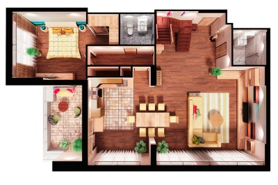 Перепланировка двухкомнатной квартиры: идеи и фото-проекты
